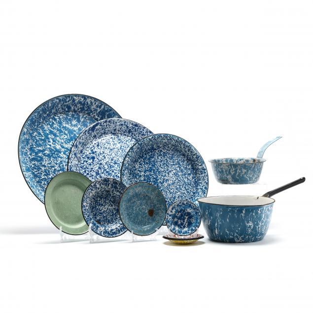 group-of-eleven-enamel-graniteware-kitchen-items