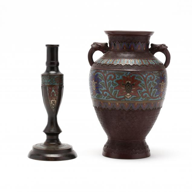 an-asian-champleve-vase-and-candlestick