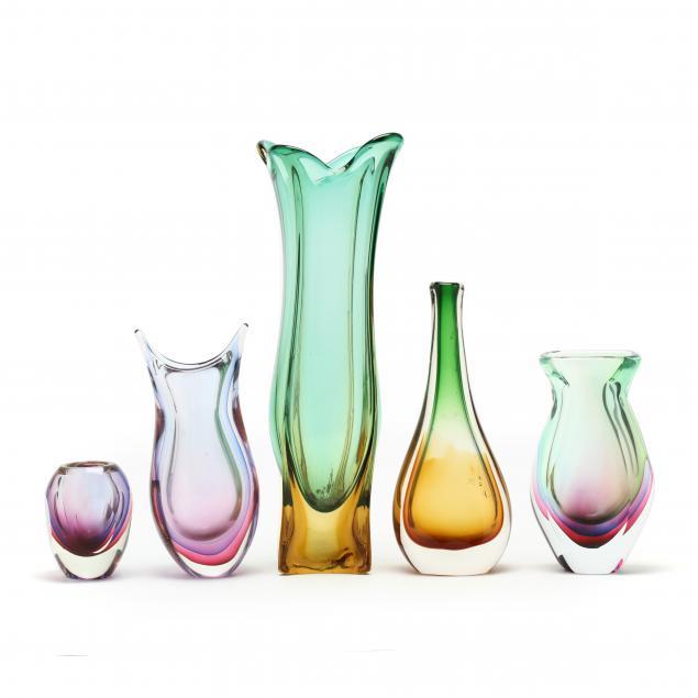 five-murano-art-glass-vases
