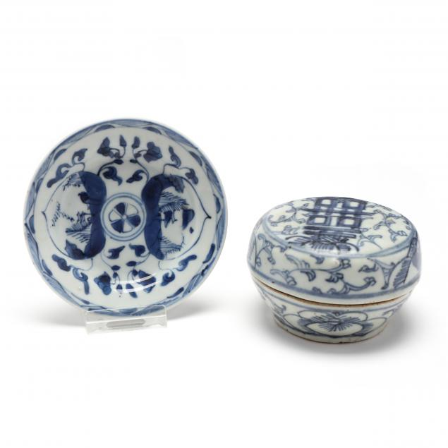 an-asian-blue-and-white-porcelain-covered-box-and-small-plate