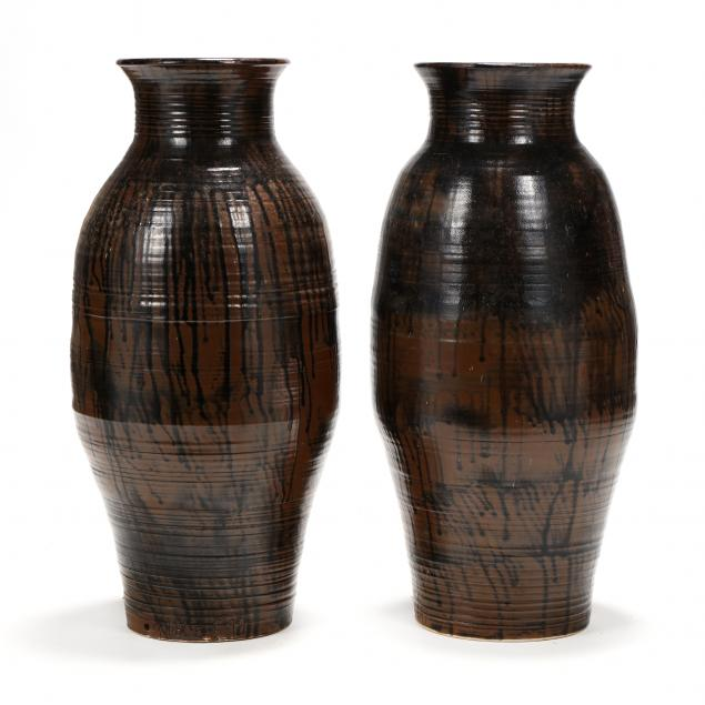 western-nc-pottery-clyde-gobble-nc-1932-2014-pair-of-floor-vases