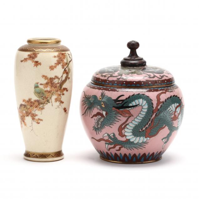 an-japanese-satsuma-vase-and-cloisonne-jar-with-cover