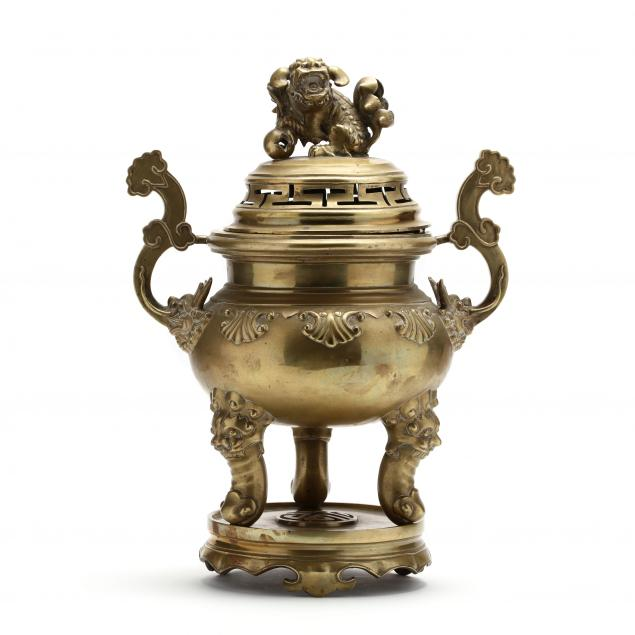 a-large-chinese-style-brass-censer-with-stand