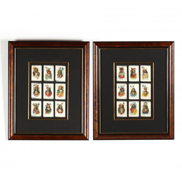 two-framed-groups-of-native-american-tobacco-silks