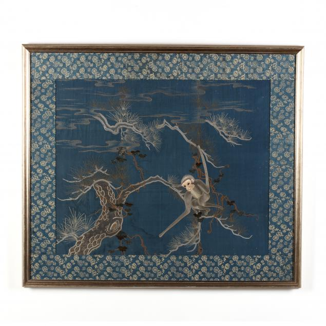 a-silk-embroidered-panel-of-a-gibbon-reaching-for-the-moon