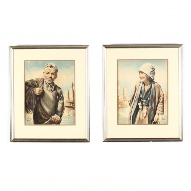 two-japanese-watercolor-paintings-signed-bizan