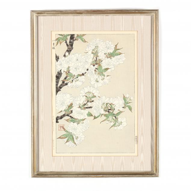 kawarazaki-shodo-japanese-1889-1973-woodblock-print-of-white-roses