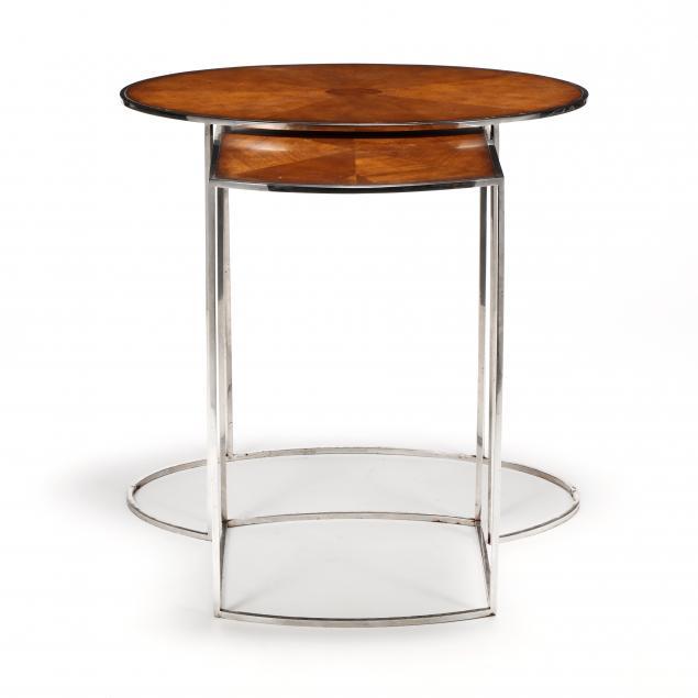 att-theodore-alexander-steel-and-mahogany-nesting-tables