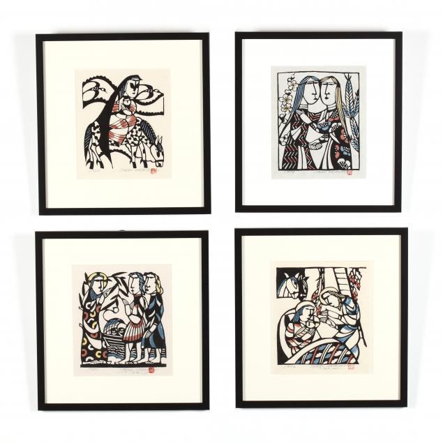 sadao-watanabe-japanese-1913-1996-four-woodblock-prints