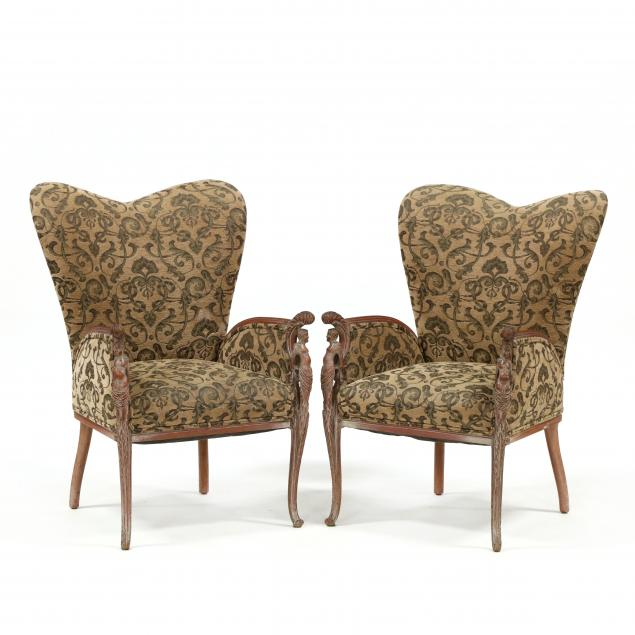 pair-of-vintage-continental-carved-mahogany-fireside-chairs
