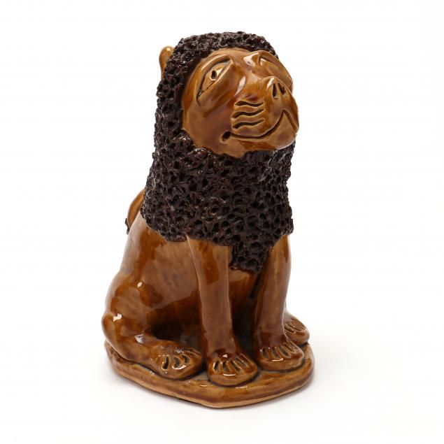 nc-folk-pottery-billy-ray-hussey-seated-lion