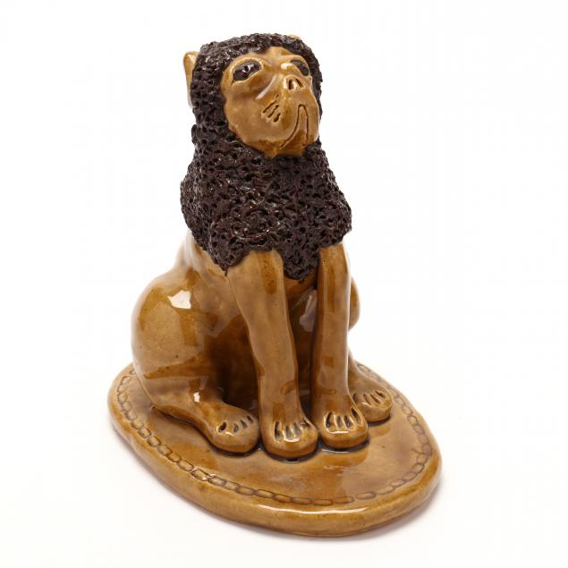 nc-folk-pottery-billy-ray-hussey-seated-brown-eyed-lion