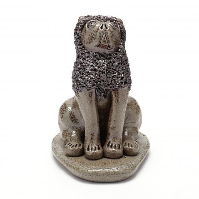 nc-folk-pottery-billy-ray-hussey-salt-glazed-seated-lion