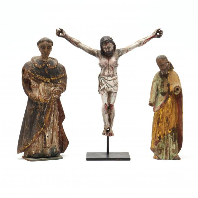 two-antique-carved-santos-and-crucified-christ