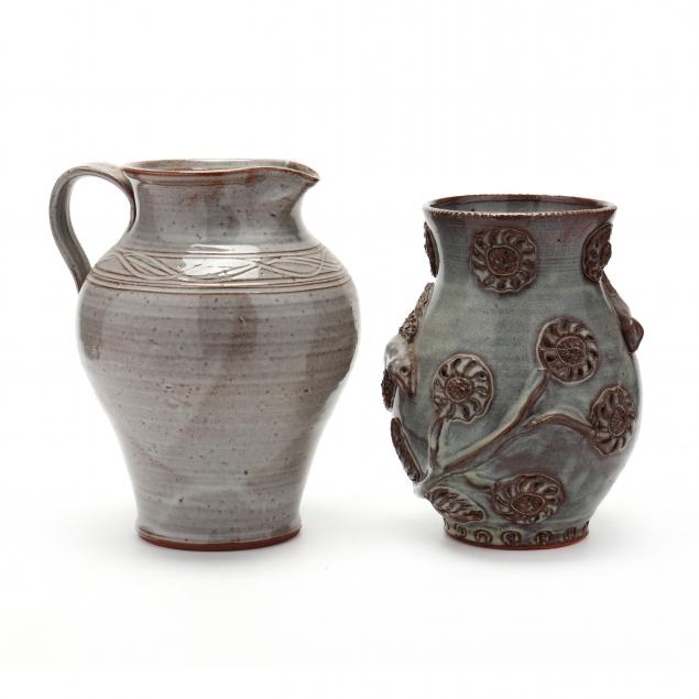 nc-pottery-billy-ray-hussey-slip-glazed-pitcher-and-vase