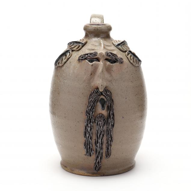 nc-folk-pottery-billy-ray-hussey-worried-face-jug