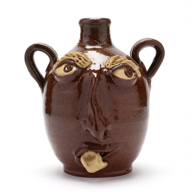 nc-folk-pottery-billy-ray-hussey-two-handled-face-jug