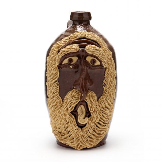 nc-folk-pottery-billy-ray-hussey-tall-face-jug