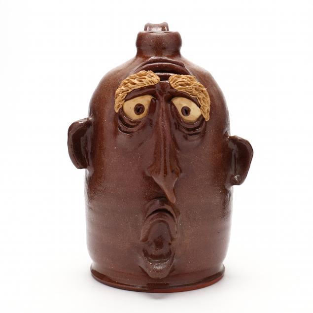 nc-folk-pottery-billy-ray-hussey-sad-face-jug