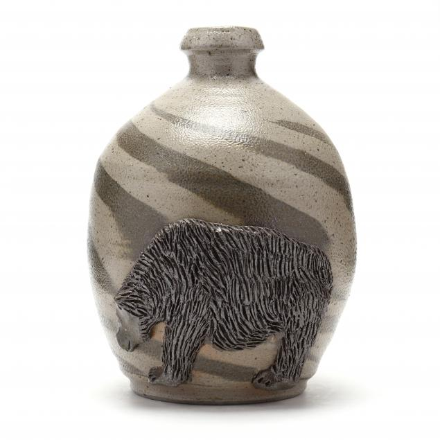 nc-folk-pottery-billy-ray-hussey-swirl-jug-with-bear