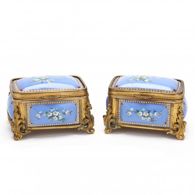 pair-of-french-gilt-bronze-and-painted-enamel-boxes