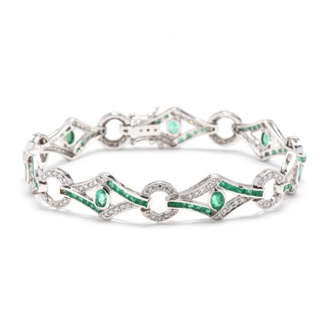 18kt-white-gold-emerald-and-diamond-bracelet