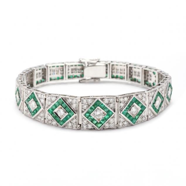 vintage-18kt-white-gold-emerald-and-diamond-bracelet