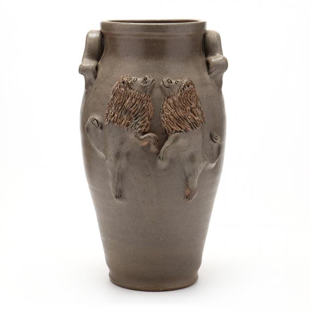 nc-pottery-billy-ray-hussey-dancing-lion-vase