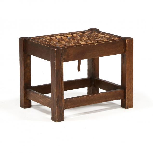 antique-mission-oak-leather-footstool