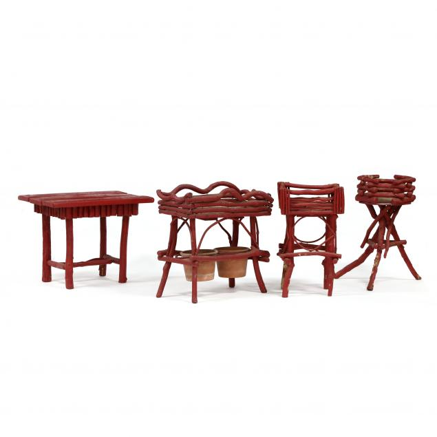 four-pieces-of-red-painted-twig-furniture