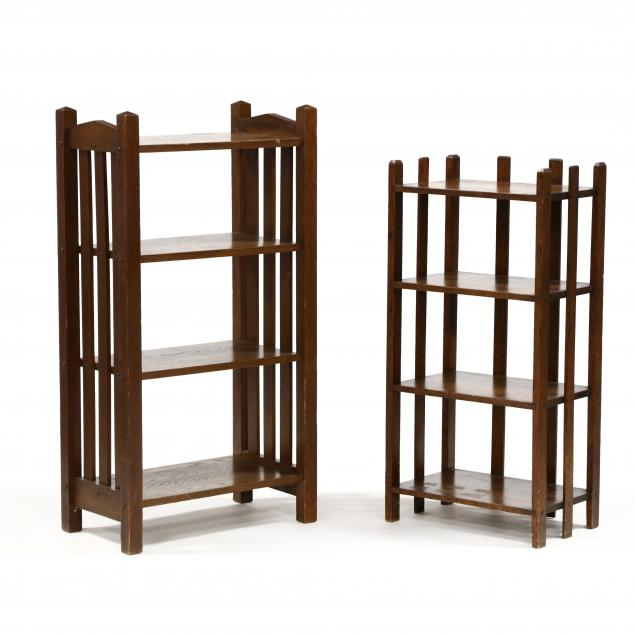 two-antique-mission-oak-bookshelves