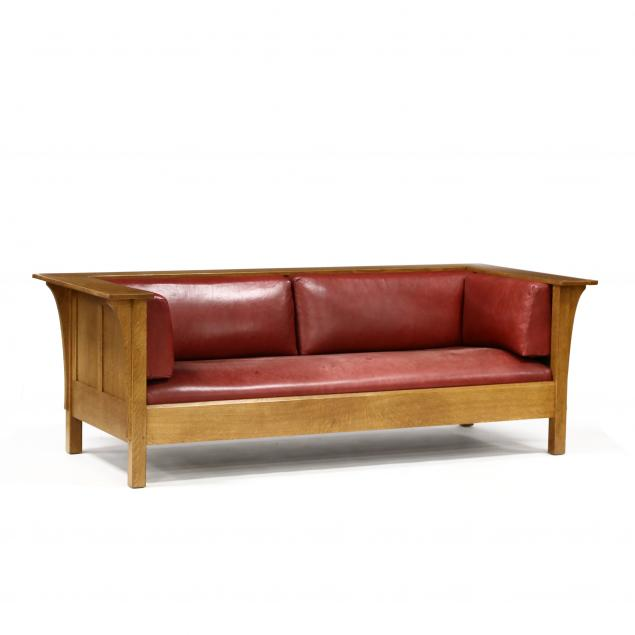 stickley-mission-oak-and-leather-sofa