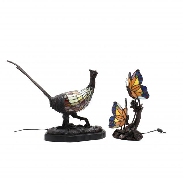 two-figural-stained-glass-lamps