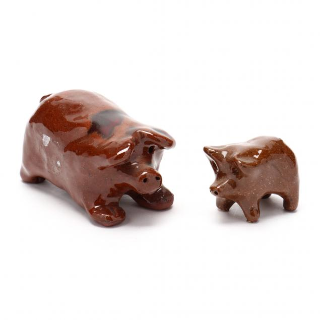 nc-folk-pottery-two-molded-pigs-att-billy-hussey