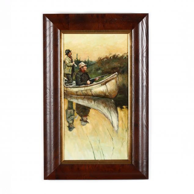 a-contemporary-painting-of-duck-hunters-in-a-canoe