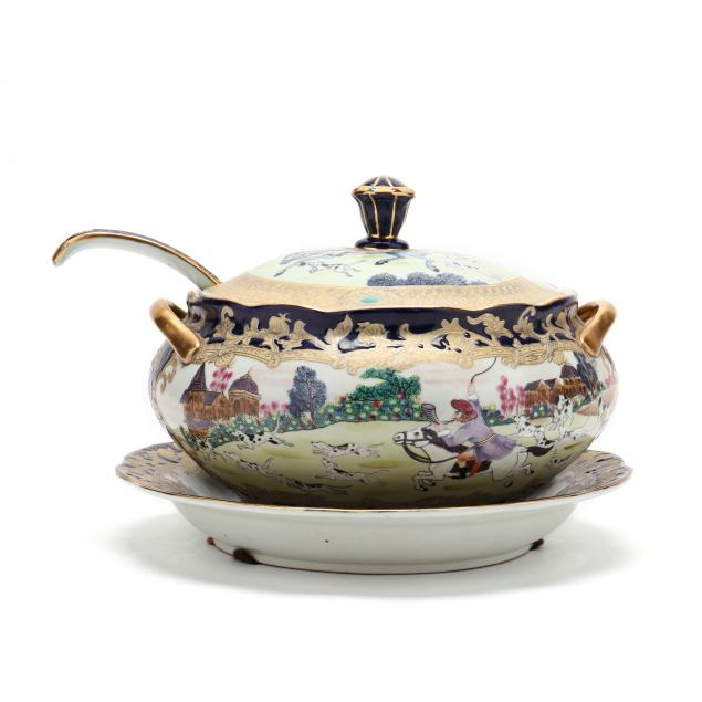 vintage-hunt-scene-tureen-with-tray-and-ladle