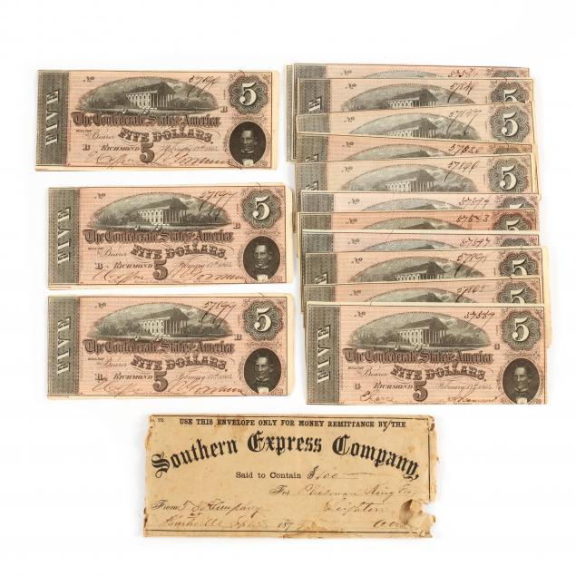 sixteen-confederate-5-t-69-notes-in-postwar-southern-express-envelope