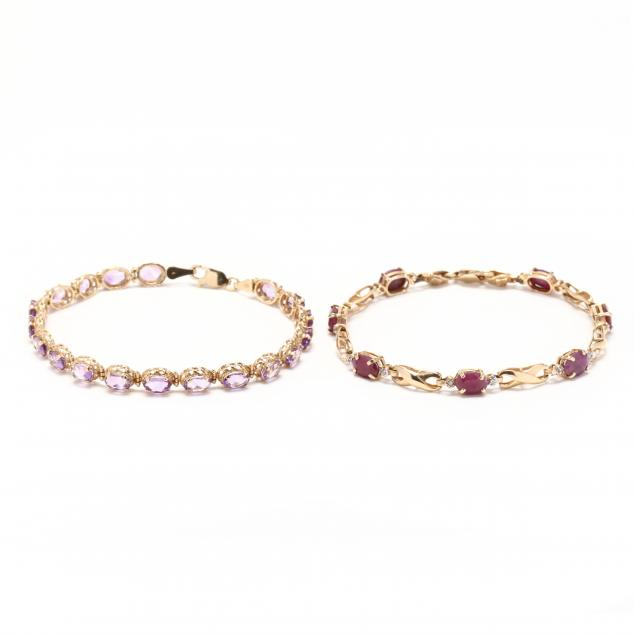 two-14kt-gold-and-gem-set-line-bracelets