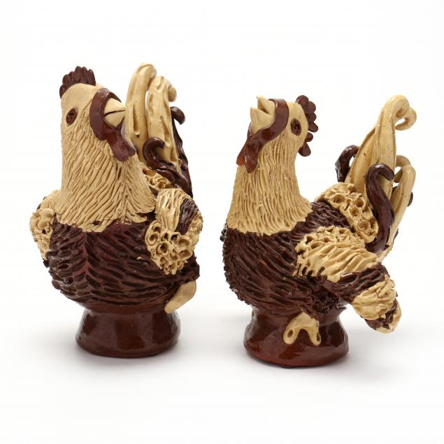 nc-folk-pottery-billy-ray-hussey-pair-of-chickens-hen-and-cock