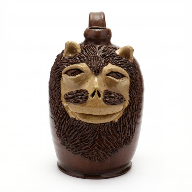 nc-folk-pottery-billy-ray-hussey-lamp-base-with-lion-mask