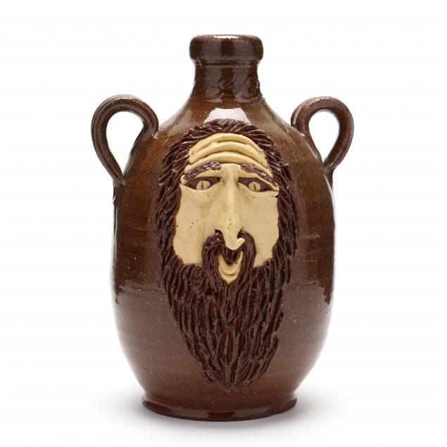 nc-folk-pottery-billy-ray-hussey-double-sided-face-jug