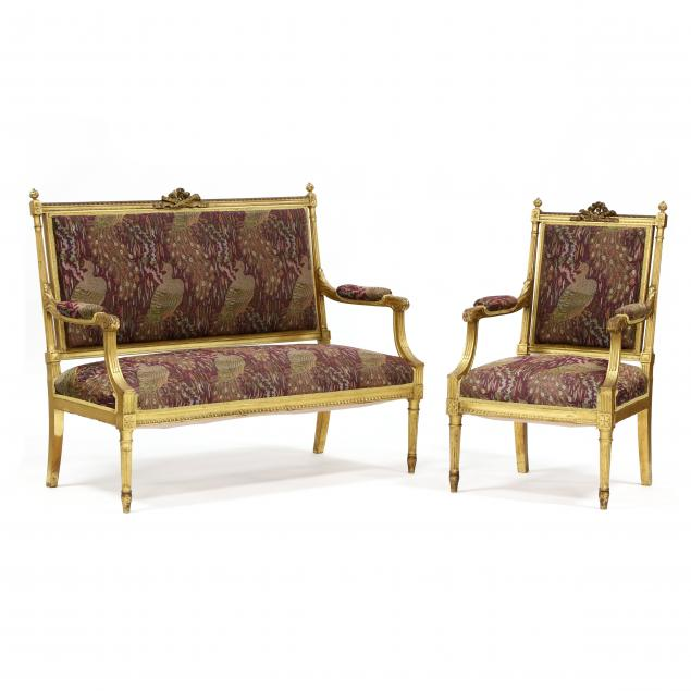 an-antique-louis-xvi-style-carved-and-gilt-settee-and-fauteuil