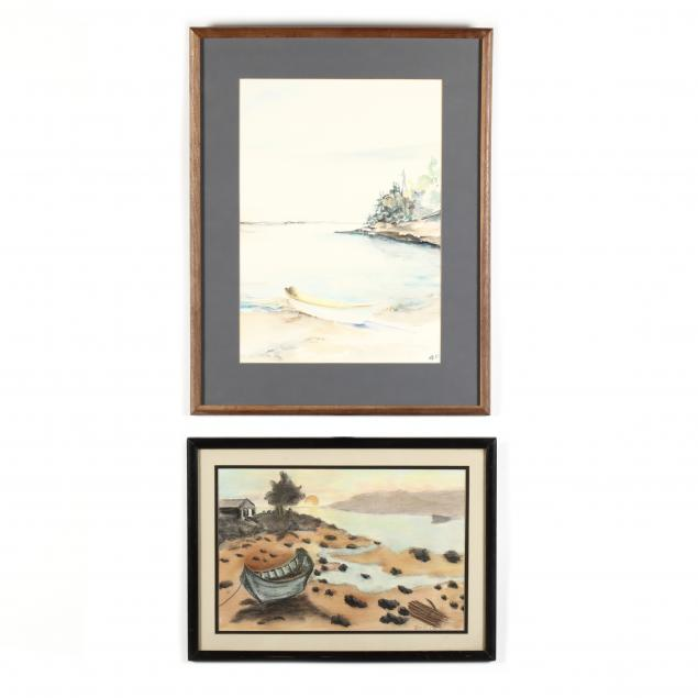 two-framed-waterscapes-on-paper