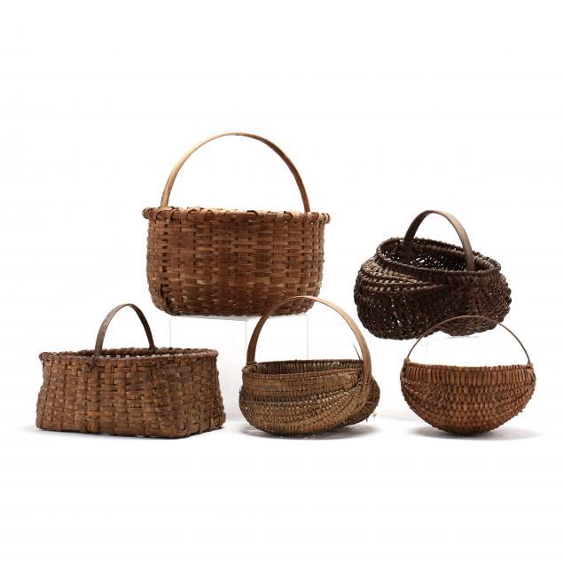 five-antique-splint-oak-baskets