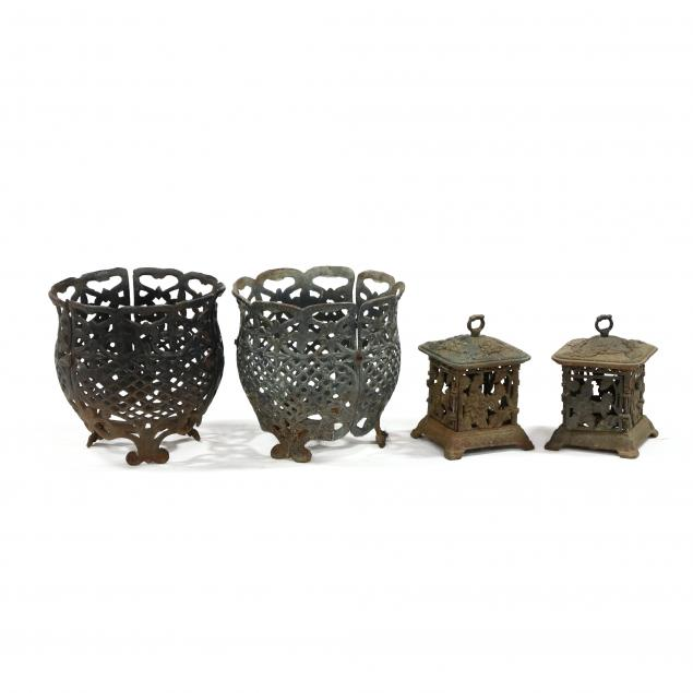 pair-of-iron-planters-and-lanterns