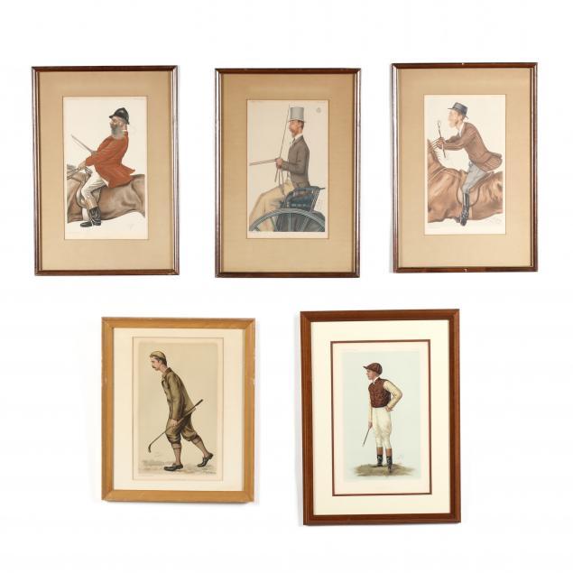 group-of-five-framed-vanity-fair-prints-19th-century