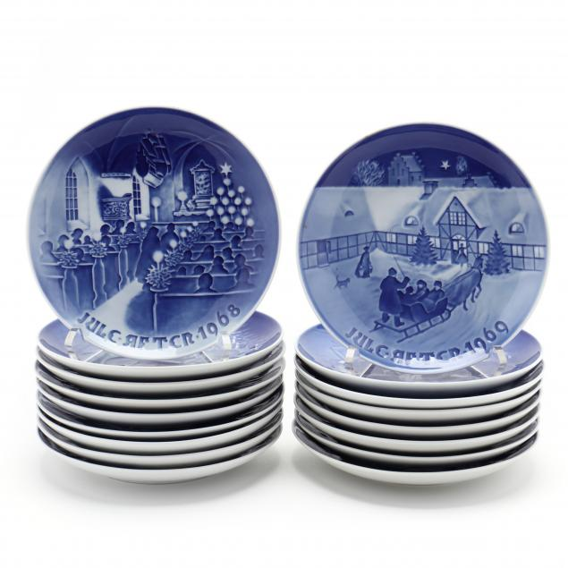 a-collection-of-17-bing-grondahl-christmas-issue-plates