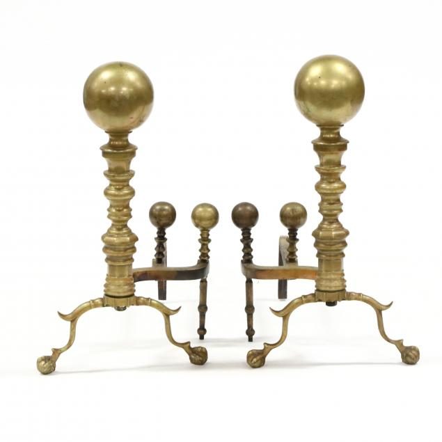 vintage-cannon-ball-finial-brass-andirons