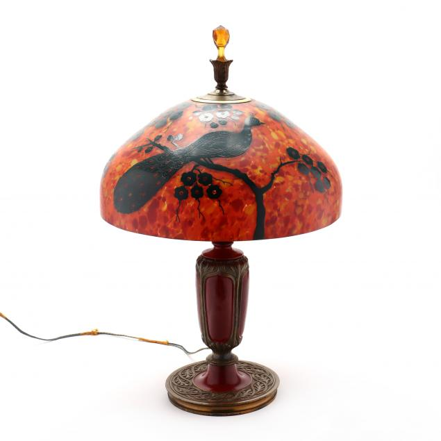 att-czechoslovakia-peacock-decorated-table-lamp