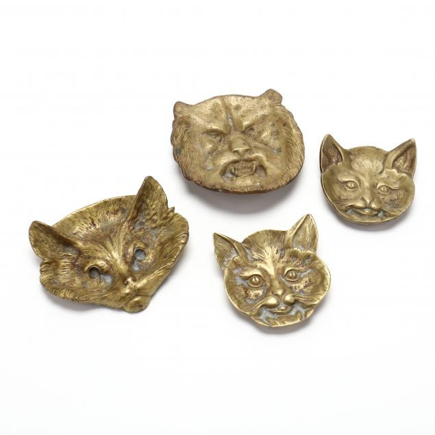 four-vintage-brass-cat-dishes